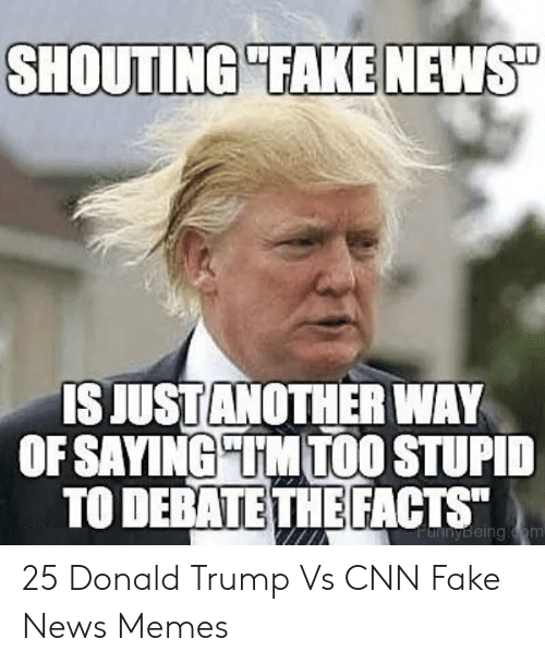 """Cnn Fake: SHOUTING """"TAKE NEWS  IS JUSTANOTHER WAY  OF SAYING UM TOO STUPID  TO DEBATE THEFACTS  FdRnyBeing.dom 25 Donald Trump Vs CNN Fake News Memes"""