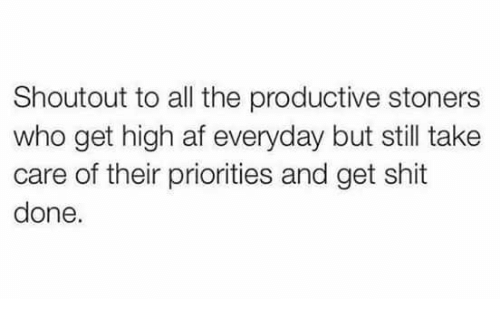 Stoners: Shoutout to all the productive stoners  who get high af everyday but still take  care of their priorities and get shit  done.