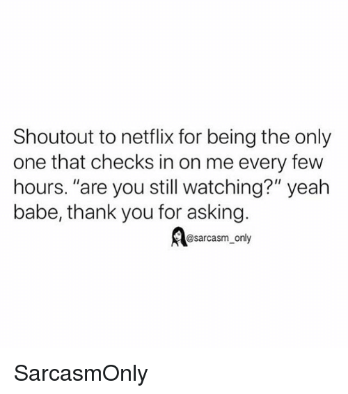 """Funny, Memes, and Netflix: Shoutout to netflix for being the only  one that checks in on me every few  hours. """"are you still watching?"""" yeah  babe, thank you for asking.  @sarcasm_only SarcasmOnly"""