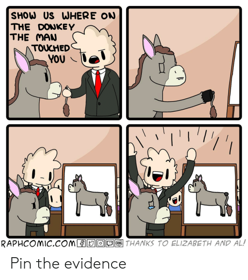 Donkey: SHOW US WHERE ON  THE DONKEY  THE MAN  TOUCHED  YOU  THANKS TO ELIZABETH AND AL!  RAPHCOMIC.COM O  WEB  TOON Pin the evidence