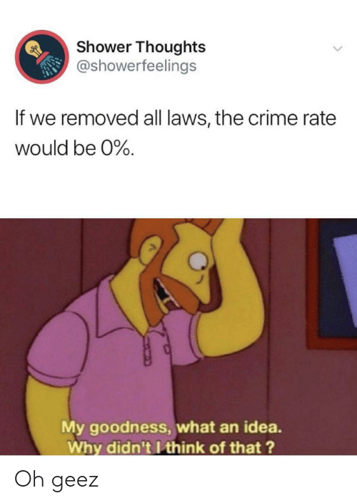 Shower thoughts: Shower Thoughts  @showerfeelings  If we removed all laws, the crime rate  would be 0%.  My goodness, what an idea.  Why didn't I think of that?  > Oh geez