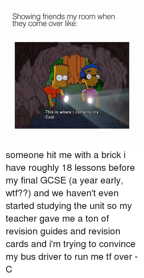 Come Over, Friends, and Memes: Showing friends my room when  they come over like:  This is where  I come to cry  Cool someone hit me with a brick i have roughly 18 lessons before my final GCSE (a year early, wtf??) and we haven't even started studying the unit so my teacher gave me a ton of revision guides and revision cards and i'm trying to convince my bus driver to run me tf over -C