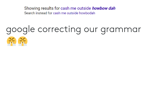 Howbow Dah: Showing results for cash me outside howbow dah  Search instead for cash me outside howbodalh google correcting our grammar😤😤
