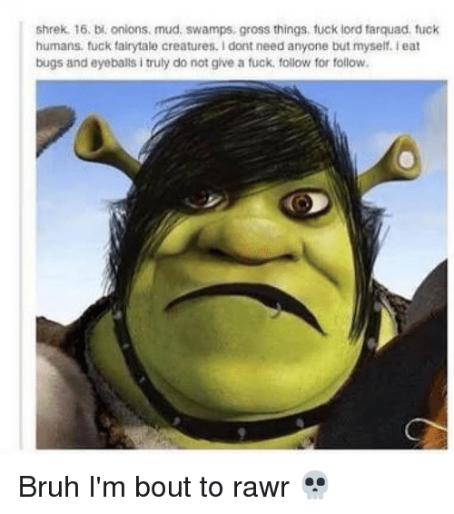follow for follow: shrek. 16. bi. onions. mud. swamps, gross things. fuck lord farquad fuck  humans, fuck fairytale creatures. I dont need anyone but myself. Teat  bugs and eyeballs i truly do not give a fuck. follow for follow Bruh I'm bout to rawr 💀