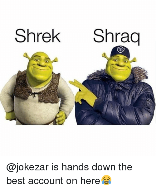 Funny, Shrek, and Best: Shrek Shraq @jokezar is hands down the best account on here😂