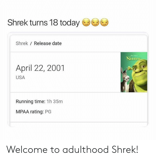 release date: Shrek turns 18 today  Shrek Release date  SHRER  April 22, 2001  USA  Running time: 1h 35m  MPAA rating: PG Welcome to adulthood Shrek!
