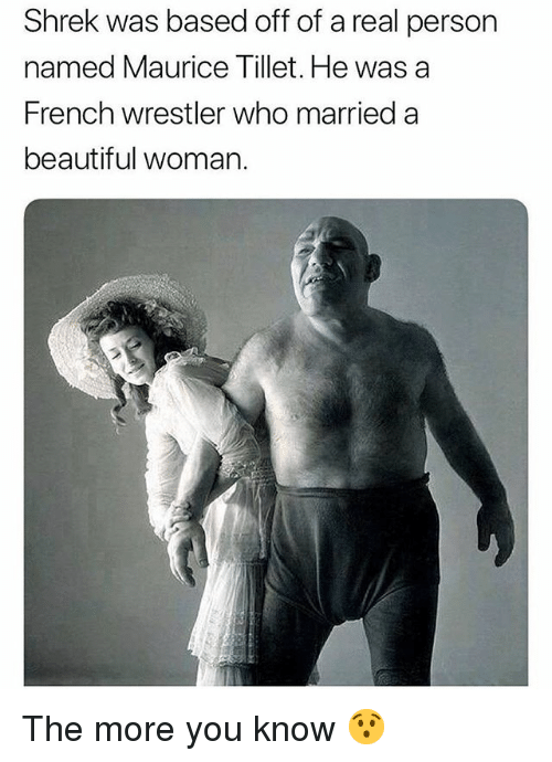 Beautiful, Funny, and Shrek: Shrek was based off of a real person  named Maurice Tillet. He was a  French wrestler who married a  beautiful woman. The more you know 😯