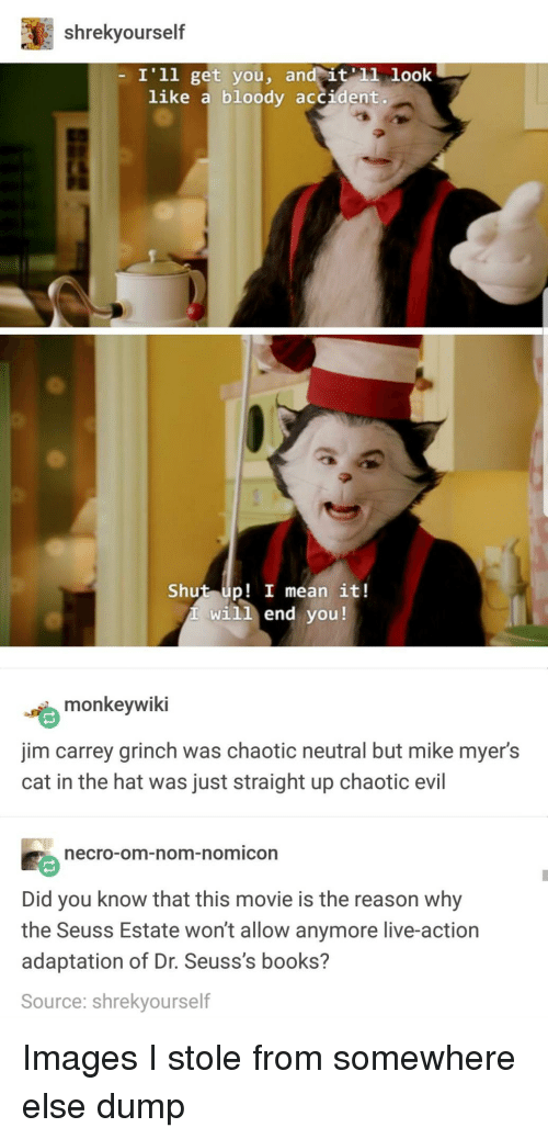 Chaotic Evil: shrekyourself  I'1l get you, an  like a bloody accident.  Shut up! I mean it!  will end you!  嚙monkeywiki  jim carrey grinch was chaotic neutral but mike myer's  cat in the hat was just straight up chaotic evil  ecro-om-nom-nomicon  Did you know that this movie is the reason why  the Seuss Estate won't allow anymore live-action  adaptation of Dr. Seuss's books?  Source: shrekyourself Images I stole from somewhere else dump