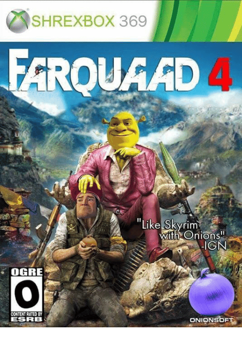 """Skyrim, Content, and Ign: SHREXBOX 369  ROUAAD  """"Like Skyrim  Wi  th Onions""""  IGN  OGRE  CONTENT RATED BY  ESRB  ONIONSbF"""
