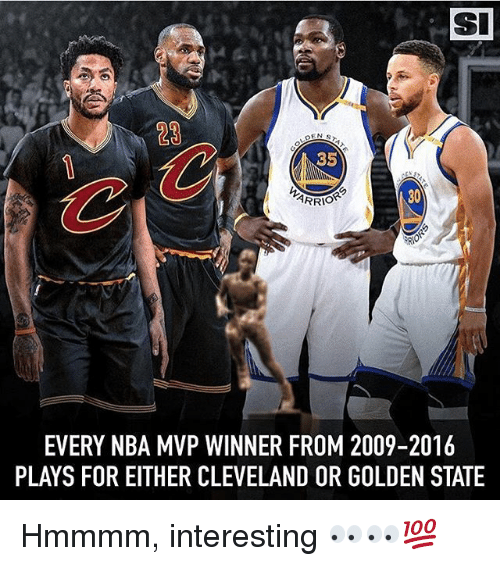Memes, Nba, and Cleveland: SI  23  35  ARRIO  30  EVERY NBA MVP WINNER FROM 2009-2016  PLAYS FOR EITHER CLEVELAND OR GOLDEN STATE Hmmmm, interesting 👀👀💯
