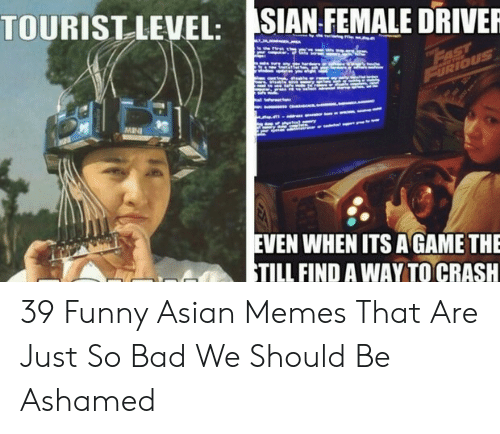 funny asian: SIAN FEMALE DRIVER  TOURISTLEVEL:  EVEN WHEN ITS A GAME THE  TILL FIND A WAY TO CRASH 39 Funny Asian Memes That Are Just So Bad We Should Be Ashamed