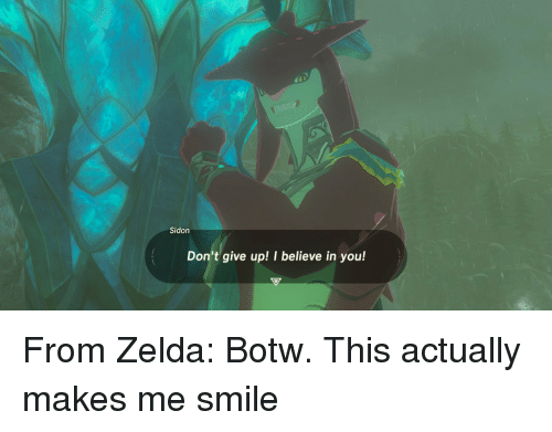 botw: Sidon  Don't give up! I believe in you! <p>From Zelda: Botw. This actually makes me smile</p>