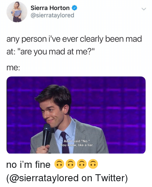 """are you mad at me: Sierra Horton  @sierrataylored  any person i've ever clearly been mad  at: """"are you mad at me?""""  me  And I said """"No.""""  ou know, like a liar. no i'm fine 🙃🙃🙃🙃 (@sierrataylored on Twitter)"""