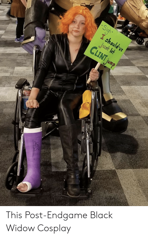 Black Widow: Sigh  I should ve  just let  CLINT jump This Post-Endgame Black Widow Cosplay