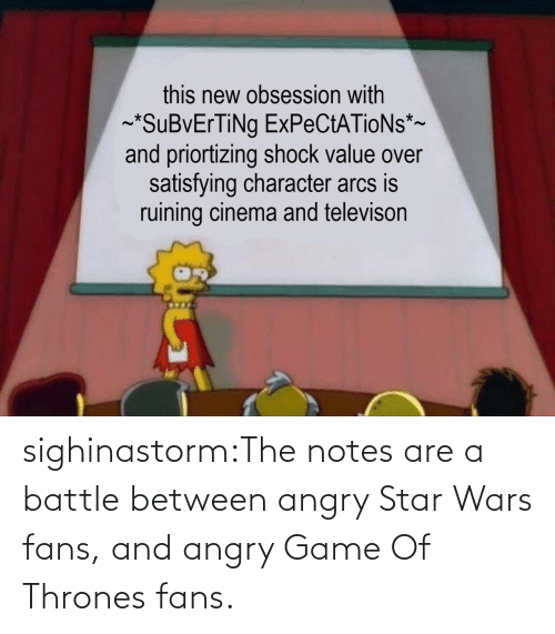 thrones: sighinastorm:The notes are a battle between angry Star Wars fans, and angry Game Of Thrones fans.