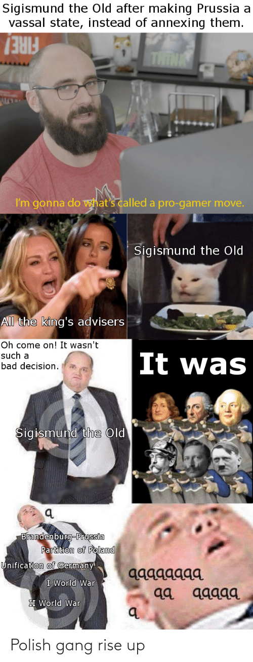 bad decision: Sigismund the Old after making Prussia a  vassal state, instead of annexing them.  FIRE/  I'm gonna do what's called a pro-gamer move.  Sigismund the Old  All the king's advisers  Oh come on! It wasn't  such a  bad decision.  It was  Sigismund the Old  Brandenburg-Prussia  Partition of Poland  Unification of Germany  aggagaga  qа дддда  I World War  II World War Polish gang rise up