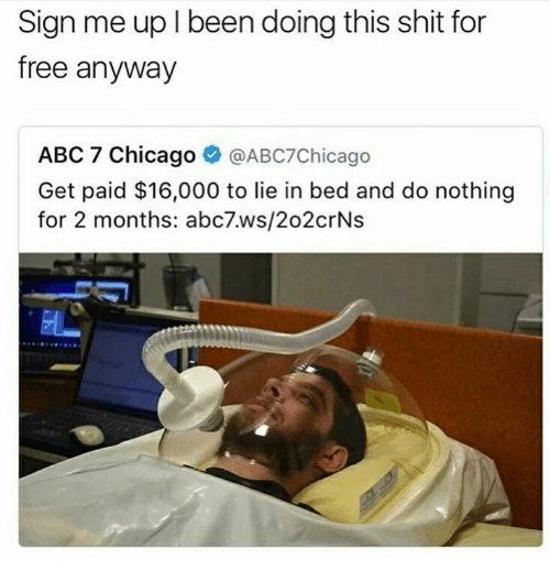 Abc, Chicago, and Shit: Sign me up l been doing this shit for  free anyway  ABC 7 Chicago  @ABC7Chicago  Get paid $16,000 to lie in bed and do nothing  for 2 months: abc7.ws/202 crNs