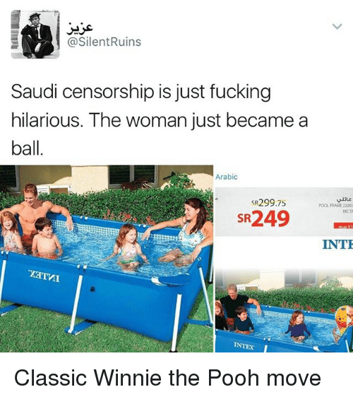 Fucking, Memes, and Winnie the Pooh: @Silent Ruins  Saudi censorship is just fucking  hilarious. The woman just became a  ball  Arabic  SR299 75  POOL FRAME 220X  SR249  INTE Classic Winnie the Pooh move