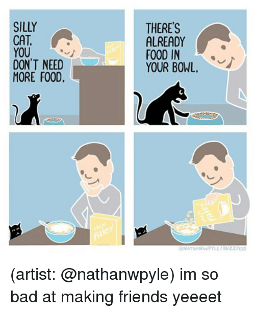 Bad, Food, and Friends: SILLY  CAT  YOU  DON'T NEED  MORE FOOD,  THERE'S  ALREADY  FOOD IN  YOUR BOWL,  NATHANWPYLE/ BUZZZFEED (artist: @nathanwpyle) im so bad at making friends yeeeet