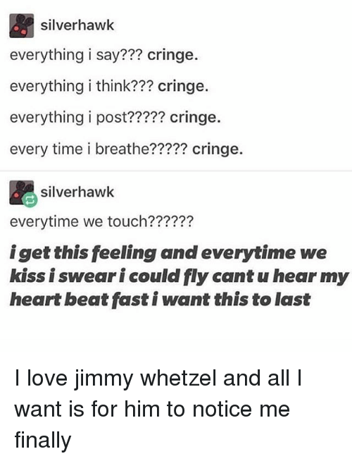 Love, Memes, and Heart: silverhawk  everything i say??? cringe.  everything i think??? cringe.  everything i post????? cringe.  every time i breathe????? cringe.  silverhawk  everytime we touch??????  iget this feeling and everytime we  kiss i swear i could fly cant u hear my  heart beat fast i want this to last I love jimmy whetzel and all I want is for him to notice me finally