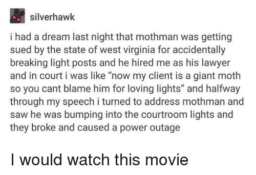 """i had a dream: silverhawk  i had a dream last night that mothman was getting  sued by the state of west virginia for accidentally  breaking light posts and he hired me as his lawyer  and in court i was like """"now my client is a giant moth  so you cant blame him for loving lights"""" and halfway  through my speech i turned to address mothman and  saw he was bumping into the courtroom lights and  they broke and caused a power outage I would watch this movie"""