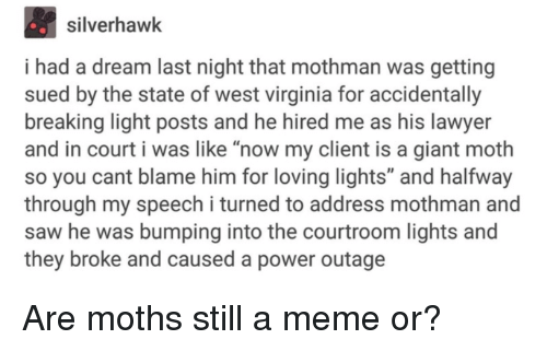 """i had a dream: silverhawk  i had a dream last night that mothman was getting  sued by the state of west virginia for accidentally  breaking light posts and he hired me as his lawyer  and in court i was like """"now my client is a giant moth  so you cant blame him for loving lights"""" and halfway  through my speech i turned to address mothman and  saw he was bumping into the courtroom lights and  they broke and caused a power outage Are moths still a meme or?"""