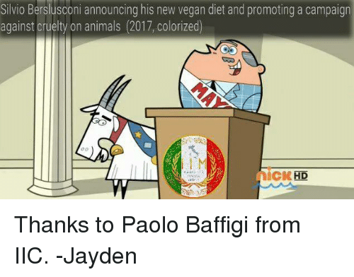 vegan diet: Silvio Berslusconi announcing his new vegan diet and promoting a campaign  against cruelty on animals (2017, colorized)  nicKHD Thanks to Paolo Baffigi from IIC. -Jayden