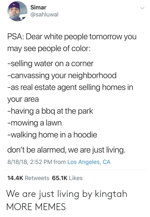 Alarmed: Simar  @sahluwal  PSA: Dear white people tomorrow you  may see people of color:  -selling water on a corner  -canvassing your neighborhood  -as real estate agent selling homes in  your area  -having a bbq at the park  mowing a lawn  walking home in a hoodie  don't be alarmed, we are just living  8/18/18, 2:52 PM from Los Angeles, CA  14.4K Retweets 65.1K Likes We are just living by kingtah MORE MEMES