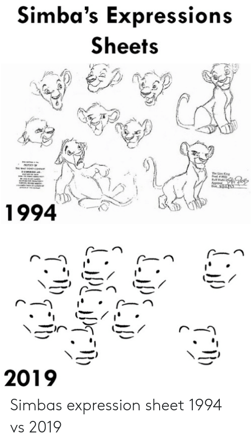 Expressions: Simba's Expressions  Sheets  ncrO  he n Kna  rod  Mad  tr  1994  2019 Simbas expression sheet 1994 vs 2019