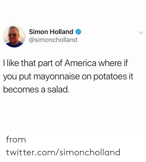 salad: Simon Holland  @simoncholland  I like that part of America where if  you put mayonnaise on potatoes it  becomes a salad. from twitter.com/simoncholland