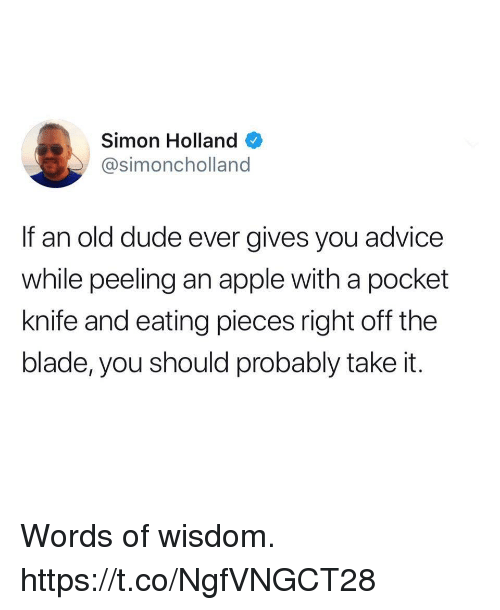 Words Of Wisdom: Simon Holland  @simoncholland  If an old dude ever gives you advice  while peeling an apple with a pocket  knife and eating pieces right off the  blade, you should probably take it. Words of wisdom. https://t.co/NgfVNGCT28