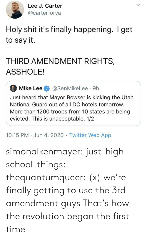 Revolution: simonalkenmayer:  just-high-school-things:  thequantumqueer:   (x)    we're finally getting to use the 3rd amendment guys   That's how the revolution began the first time