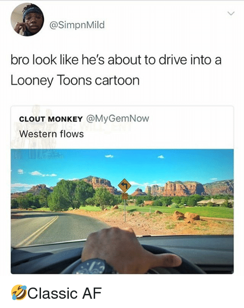 Af, Memes, and Cartoon: @SimpnMild  bro look like he's about to drive intoa  Looney Toons cartoon  CLOUT MONKEY @MyGemNow  Western flows 🤣Classic AF