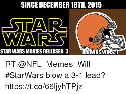 Football, Memes, and Movies: SINCE DECEMBER 18TH, 2015  STAR  WA  STAR WARS MOVIES RELEASED:3  BROWNS WINS:1 RT @NFL_Memes: Will #StarWars blow a 3-1 lead? https://t.co/66ljyhTPjz