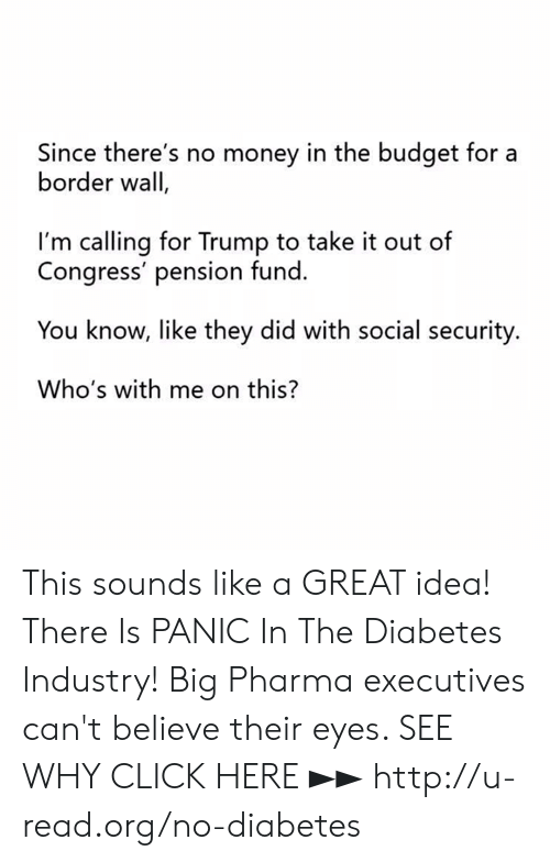 social security: Since there's no money in the budget for a  border wall  I'm calling for Trump to take it out of  Congress' pension fund.  You know, like they did with social security.  Who's with me on this? This sounds like a GREAT idea!  There Is PANIC In The Diabetes Industry! Big Pharma executives can't believe their eyes. SEE WHY CLICK HERE ►► http://u-read.org/no-diabetes