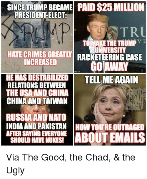 Tell Me Again: SINCE TRUMP BECAME PAID S25 MILLION  PRESIDENT ELECT.  USTR  TO MAKE THE TRUMP  VE  HATE CRIMES GREATLY UNIVERSITY  INCREASED  CASE  OAWAY  HEHASDESTABILIZED TELL ME AGAIN  RELATIONS BETWEEN  THE USA AND CHINA  CHINA AND TAIWAN  RUSSIA AND NATO  INDIA AND PAKISTAN HOW YOURE OUTRAGED  AFTER SAYINGEVERYONE  ABOUT EMAILS  SHOULD HAVENUKESI Via The Good, the Chad, & the Ugly