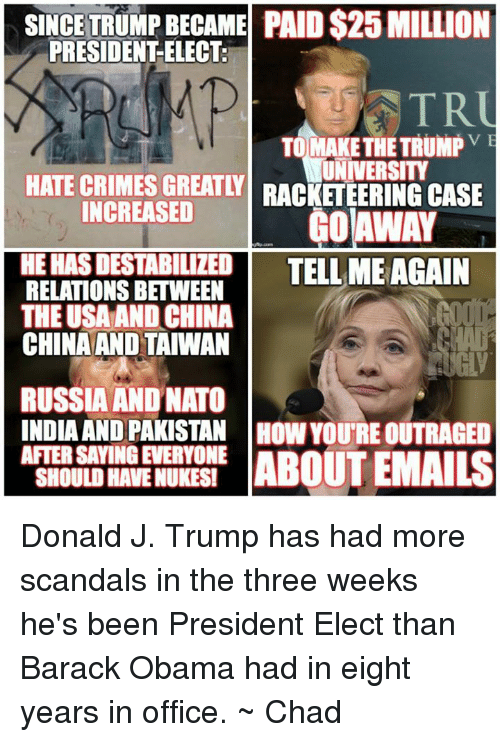 Tell Me Again: SINCE TRUMPBECAME PAID S25 MILLION  PRESIDENT ELECT.  TR  TO MAKE THE TRUMP  VE  HATE CRIMES UNIVERSITY  GREATY RACKETEERING CASE  INCREASED  AWAY  HEHASDESTABILIZED TELL ME AGAIN  RELATIONS BETWEEN  THE USA AND CHINA  CHINA AND TAIWAN  RUSSIA AND NATO  INDIA AND PAKISTAN HOW YOURE OUTRAGED  AFTER SAYINGEVERYONE  ABOUT EMAILS  SHOULD HAVENUKESI Donald J. Trump has had more scandals in the three weeks he's been President Elect than Barack Obama had in eight years in office. ~ Chad