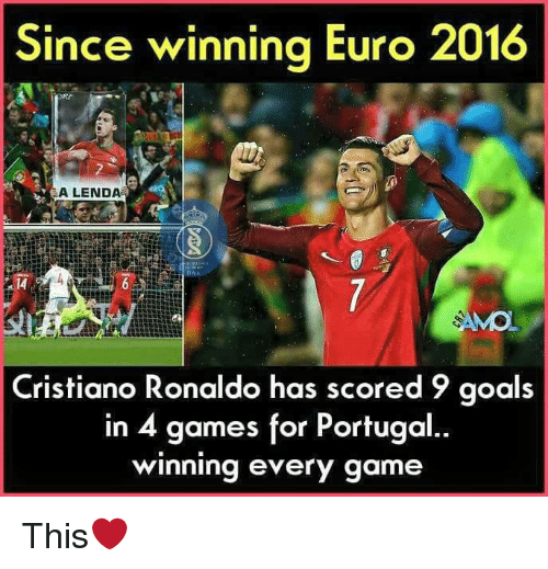 Euro: Since winning Euro 2016  ALENDA  Cristiano Ronaldo has scored 9 goals  in 4 games for Portugal  winning every game This❤
