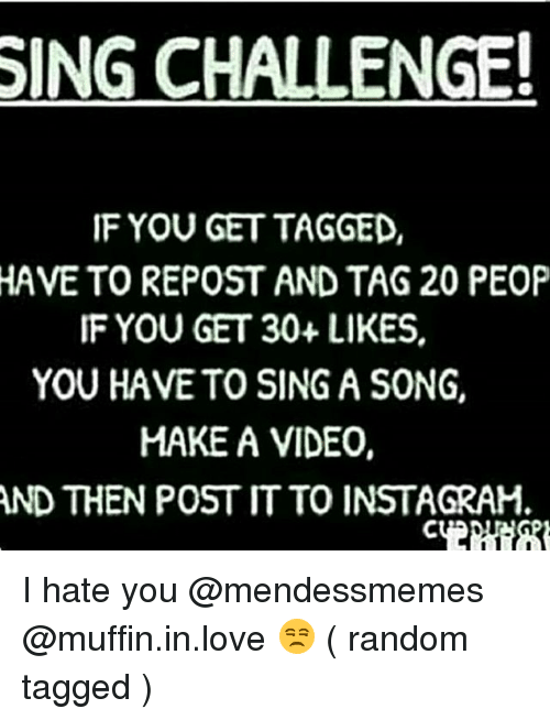 Memes, Singing, and A Song: SING CHALLENGE!  IF YOU GET TAGGED  HAVE TO REPOST AND TAG 20 PEOP  IF YOU GET 30+ LIKES.  YOU HAVE TO SING A SONG,  MAKE A VIDEO,  AND THENPOSTITTO INSTAGRAM, I hate you @mendessmemes @muffin.in.love 😒 ( random tagged )