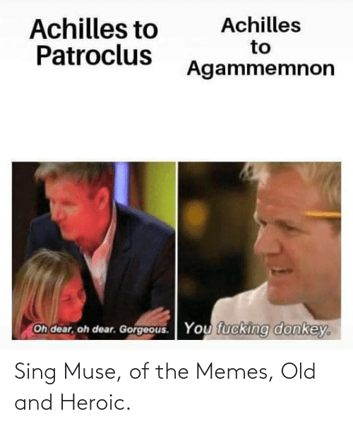 sing: Sing Muse, of the Memes, Old and Heroic.