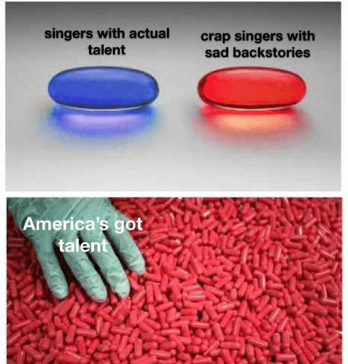 singers: singers with actual  talent  crap singers with  sad backstories  America's got  talent