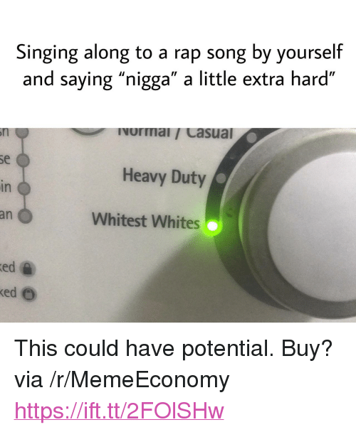 """Rap, Singing, and Rap Song: Singing along to a rap song by yourself  and saying """"nigga"""" a little extra hard""""  Ivormai/ Casual  se  Heavy Duty  in  an  Whitest Whites  ed  ed e <p>This could have potential. Buy? via /r/MemeEconomy <a href=""""https://ift.tt/2FOlSHw"""">https://ift.tt/2FOlSHw</a></p>"""