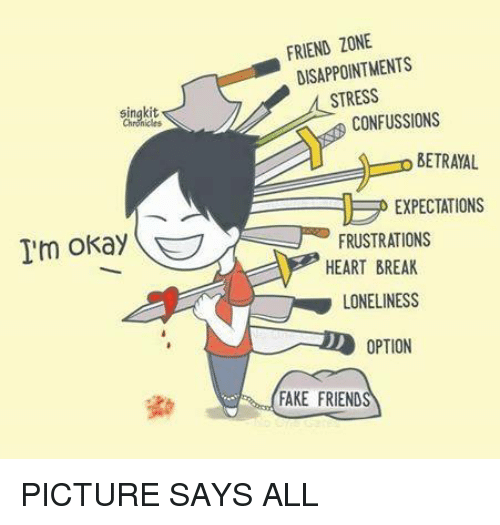 Friend Pictures: singkit  I'm okay  FRIEND ZONE  DISAPPOINTMENTS  STRESS  CONFUSSIONS  BETRAYAL  EXPECTATIONS  FRUSTRATIONS  HEARTBREAK  LONELINESS  D OPTION  FAKE FRIEND PICTURE SAYS ALL