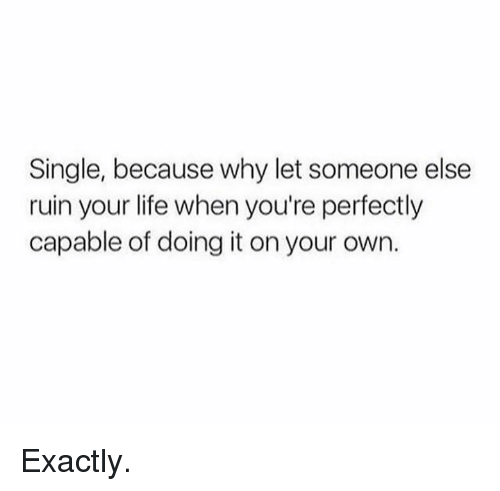 Dank, Life, and Single: Single, because why let someone else  ruin your life when you're perfectly  capable of doing it on your own. Exactly.