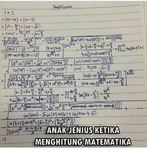 Indonesian (Language) and Sin: Sinplificetiat  Sin)  ANAKJENIUSKETIKA  MENGHITUNG MATEMATIKA