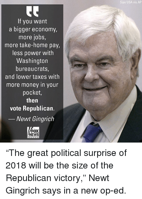 """Memes, Money, and News: Sipa USA via AP  If you want  a bigger economy  more jobs,  more take-home pay,  less power with  Washington  bureaucrats,  and lower taxes with  more money in your  pocket,  then  vote Republican.  Newt Gingrich  FOX  NEWS """"The great political surprise of 2018 will be the size of the Republican victory,"""" Newt Gingrich says in a new op-ed."""