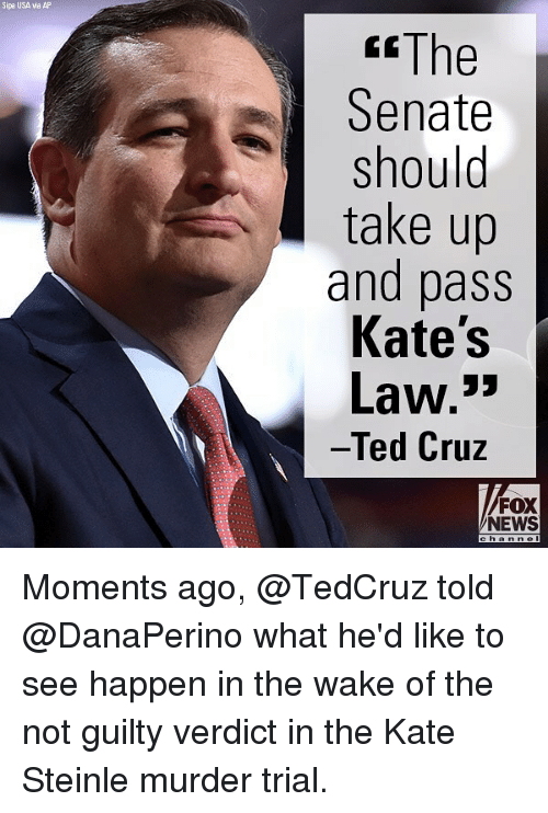 "Memes, News, and Ted: Sipa USA via AP  ""The  Senate  should  take up  and pass  Kate's  Law.""  Ted Cruz  FOX  NEWS Moments ago, @TedCruz told @DanaPerino what he'd like to see happen in the wake of the not guilty verdict in the Kate Steinle murder trial."