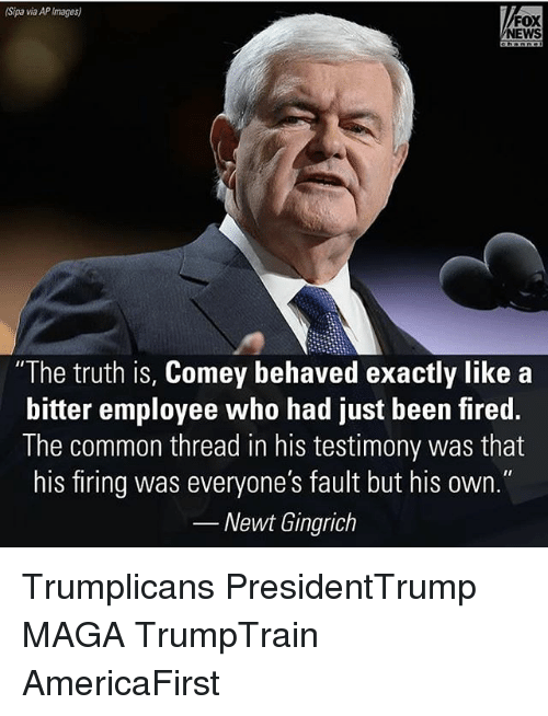 """Memes, News, and Common: (Sipa via APImages)  FOX  NEWS  """"The truth is, Comey behaved exactly like a  bitter employee who had just been fired.  The common thread in his testimony was that  his firing was everyone's fault but his own.""""  Newt Gingrich Trumplicans PresidentTrump MAGA TrumpTrain AmericaFirst"""