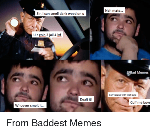 dank weed: Sir, I can smell dank weed on u  U r goin 2 jail 4 lyf  Dealt it!  Whoever smelt it...  Nah mate...  Bad Memes  Can't argue with that logic  Cuff me boys From Baddest Memes
