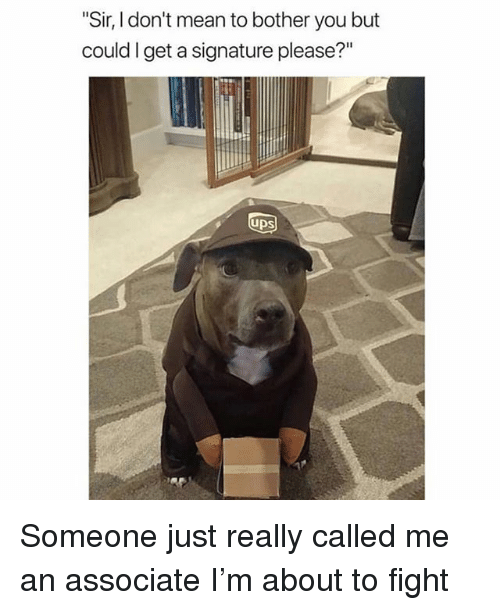 """Memes, Ups, and Mean: """"Sir, I don't mean to bother you but  could I get a signature please?""""  UpS Someone just really called me an associate I'm about to fight"""
